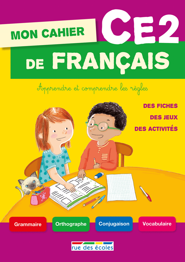 Mon cahier de français CE2 - 9782820803153 - Éditions rue des écoles - couverture