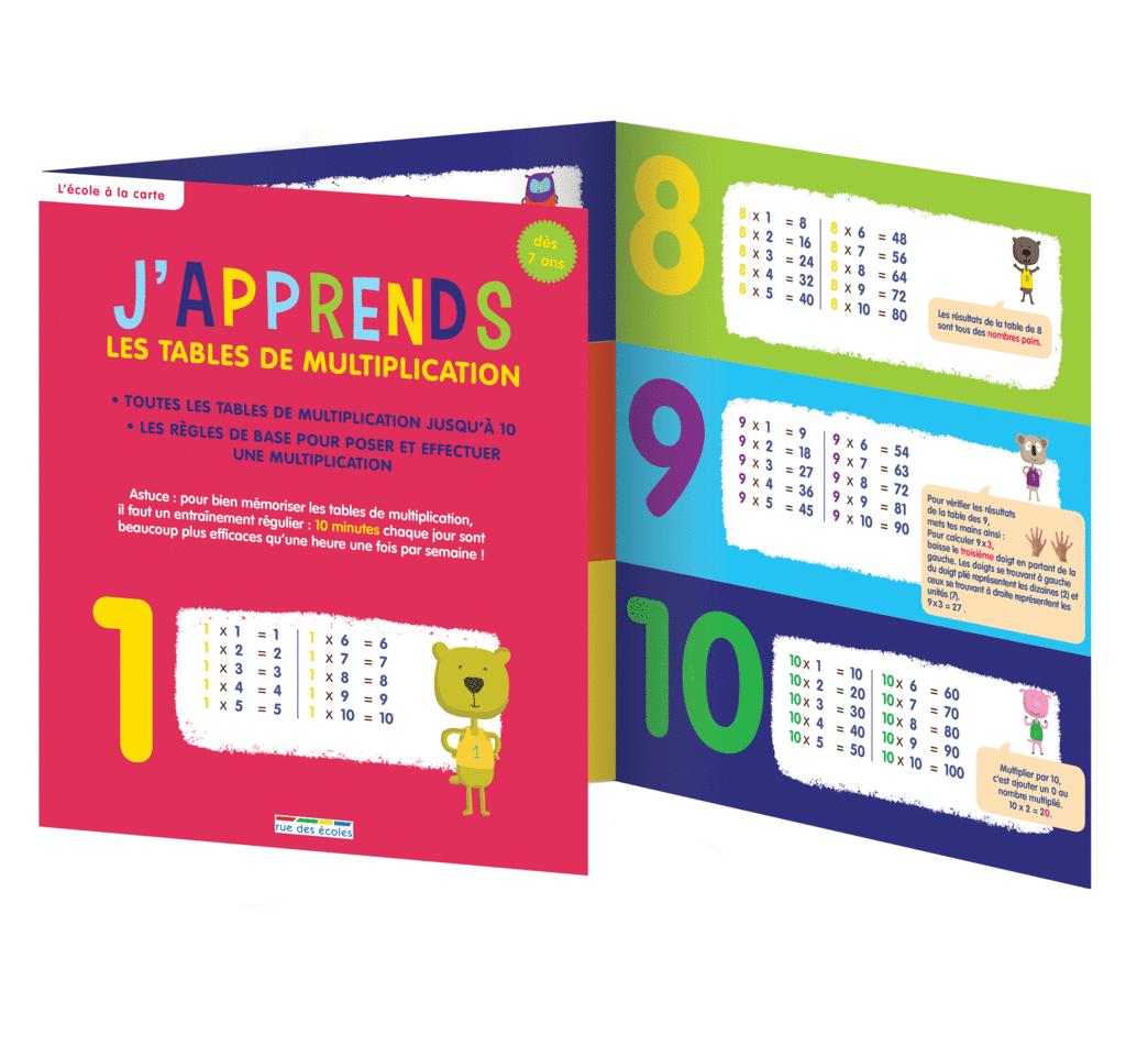 J'apprends les tables de multiplication, dès 7 ans - 9782820805041 - Éditions rue des écoles - couverture
