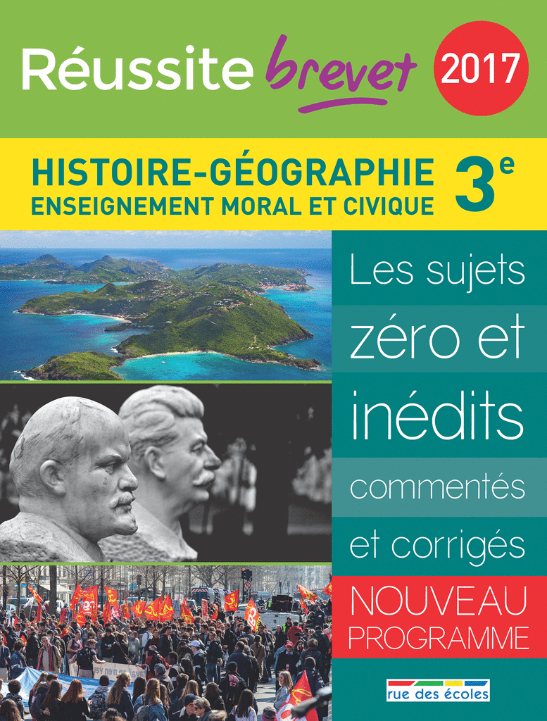Réussite brevet 2017 - La Compil Histoire-Géographie - 9782820805539 - rue des écoles - couverture