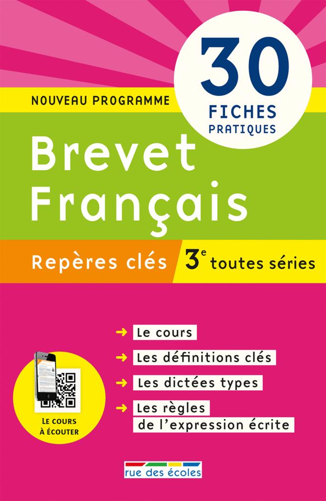 Repères clés : Brevet Français - 3e - 9782820805898 - Éditions rue des écoles - couverture