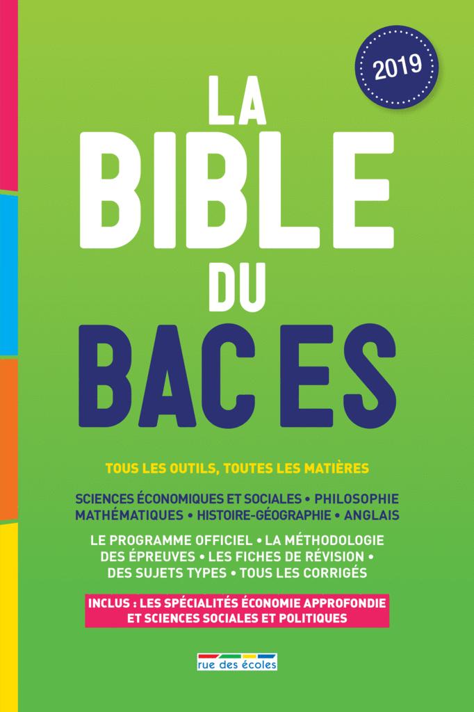 La Bible du bac ES, Édition 2019 - 9782820809094 - Éditions rue des écoles - couverture