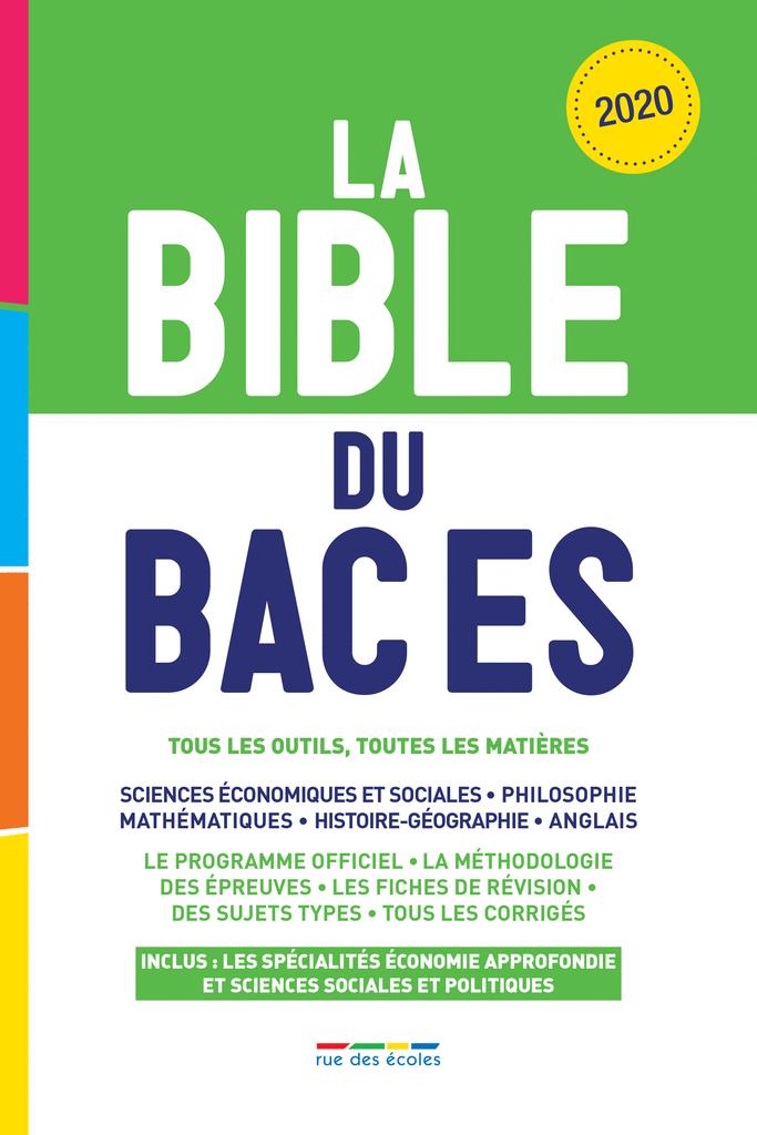 La Bible du Bac ES, Édition 2020 - 9782820810397 - Éditions rue des écoles - couverture