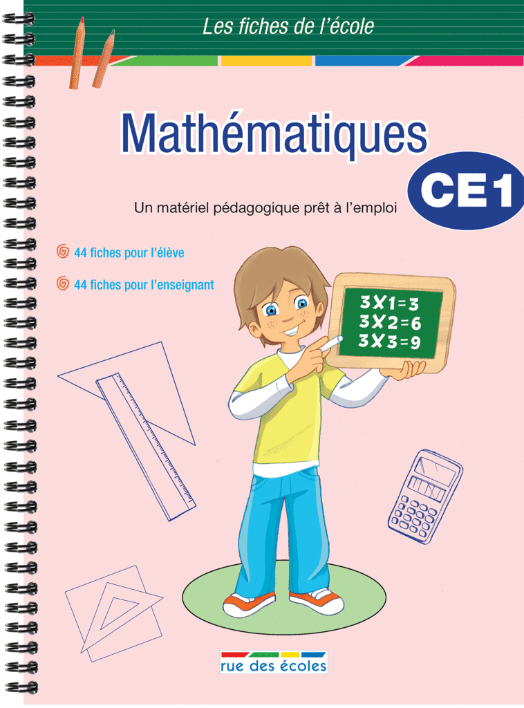 Les Fiches de l'école - Mathématiques CE1 - 9782844319487 - Éditions rue des écoles - couverture