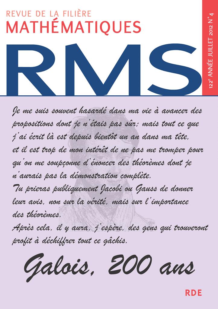RMS - 122e année - numéro 4, juillet 2012 - 9782916609249 - rue des écoles - couverture